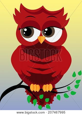 Cute Beautiful Red Owl On A Branch In Spring