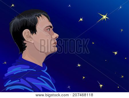 Illustrative portrait of a young astronomer against the sky