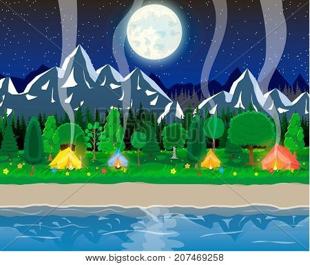 Meadow with grass and camping in night. Tent, bonfire, flowers, mountains, trees, sky, moon and stars. Lake and rocks, river. Nature landscape. Vector illustration in flat style