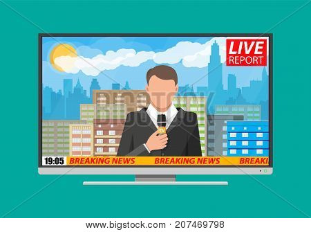 Modern flat screen tv with news. Cityscape with buildings, clouds, sky, sun. Journalism, live report, breaking hot news, television and radio casts concept. Vector illustration in flat style