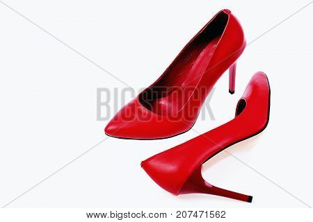 Female Formal Footwear In Red Colour, Closeup