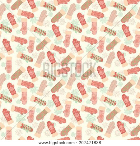 Cute background with mittens and snowflakes. Vector vintage winter pattern knitted mittens -illustration.
