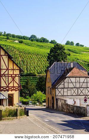 Riquewihr a medieval village in the heart of the Alsatian vineyard region.