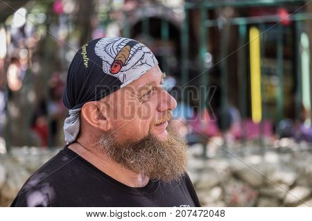 Senior Bearded Man With Bandana