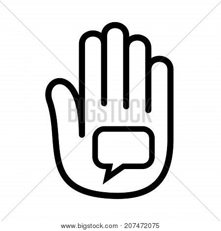 Hand open palm speaking bubble talk logo icon. Outline illustration of hand with speaking bubble talk vector illustration for print or web design.