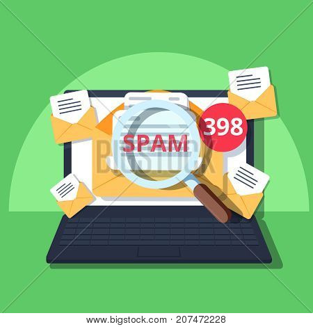 Spam Email Warning Window Appear On Laptop Screen. Concept of virus piracy hacking and security. Envelope with spam. Website banner of e-mail protection anti-malware software. Flat vector.