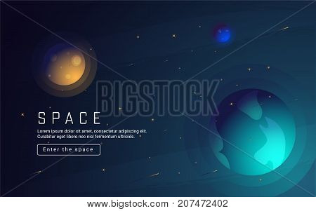 Vector realistic and futuristic space background with bright light planets and stars. Cosmos banner with neon light 3d objects and glowing tracks. Abstract universe with big blue planet and promo text