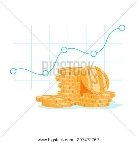 Finance productivity graph return on investment chart budget planning expenses concept accounting report income growth statistic dashboard vector flat icon