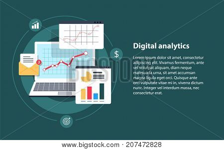 Digital analytics Big data analysis data science market research application flat vector banner illustration with icons. Business analysis data analytics and research strategy statistic and planning marketing