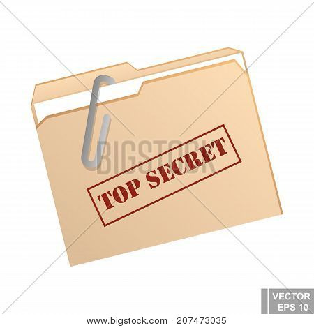 Folder With A Paper Clip. Very Secret. Confidentiality. For Your Design.