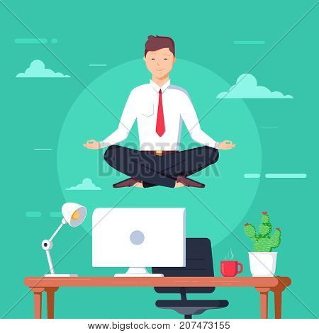 Business man meditating in lotus pose over table in office room. Boss doing yoga and get calm at workplace. Relax meditation concept. Worker multitasking. Vector cartoon illustration. Flat design