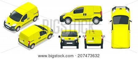 Small Van Car. Isolated car, template for car branding and advertising. Front, rear , side, top and isometry front and back. Change the color in one click. All elements in groups on separate layers
