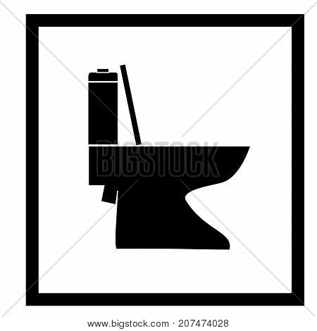Toilet icon in black square. Sign there of restroom seat. Signboard allow do shit. Isolated design graphic element. Flat vector image. Template for sign poster. Vector illustration.