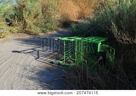 An abandoned grocery cart gives evidence of a homeless encampment nearby.