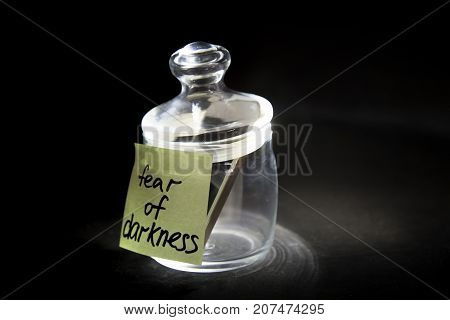 Feelings of a person. Fear of darkness
