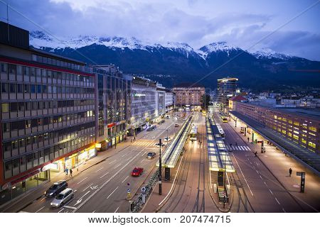 INNSBRUCK, AUSTRIA - SEP 20. The central bus station in Innsbruck, Austria on Sep 20, 2017. Innsbruck is the capital of Tirol in western Austria and located in the broad valley between high mountains.
