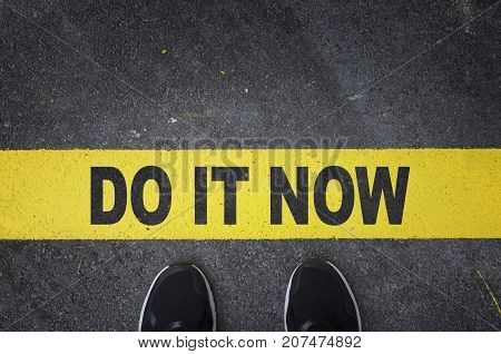 Do it now with yellow line on asphalt road