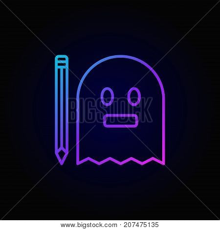 Modern colorful ghost with pencil icon. Vector ghost writing concept outline symbol style on dark background