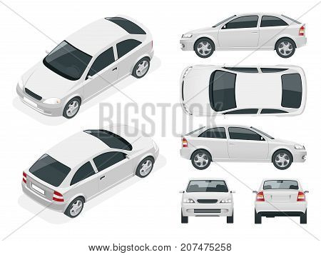 Set of Sedan Cars. Isolated car, template for car branding and advertising. Front, rear , side, top and isometry front and back Change the color in one click All elements in groups on separate layers
