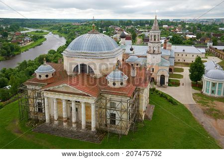Torzhoksky Borisoglebsky Cathedral. View from the bell tower of Boris and Gleb monastery. Torzhok, Russia