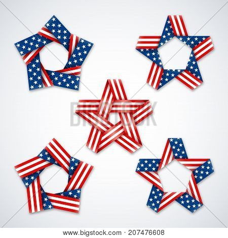 Set of stars made of ribbons with USA flag stars and stripes. Symbol design for american national holidays. Vector illustration