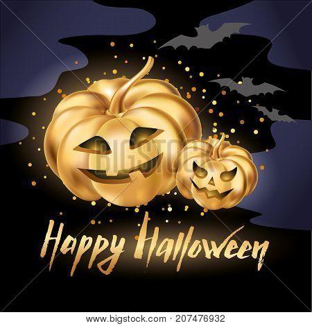 Gold halloween pumpkins. Happy Halloween pumpkin night. Halloween party decoration. Golden pumpkin party design, event. Gold pumpkins party for celebration, event, congratulations, Home decoration