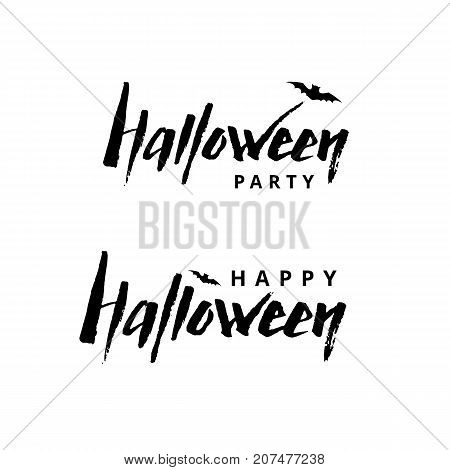 Happy Halloween Logotype. Halloween party logo. Greeting card, invitation, party design, event . Party elements for celebration, event, congratulations, kids invitation. Text Banner logotype