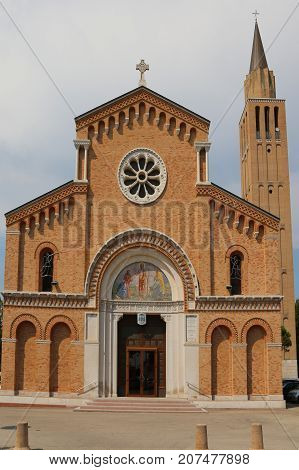 Bell Tower And Facade Of  Church In Jesolo City Italy