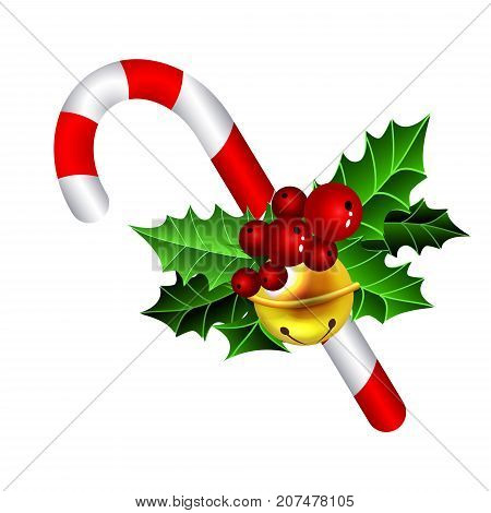 Christmas candy cane decorated with a bow from holly isolated on white vector