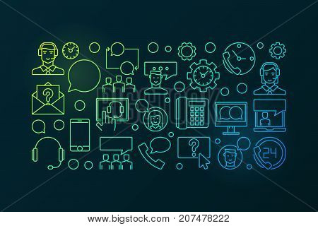 Colorful call center and user support vector concept horizontal banner on dark background