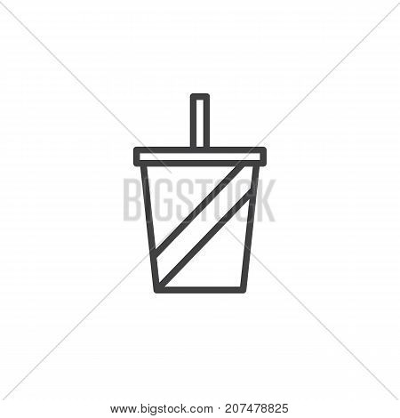 Soft drink line icon, outline vector sign, linear style pictogram isolated on white. Symbol, logo illustration. Editable stroke