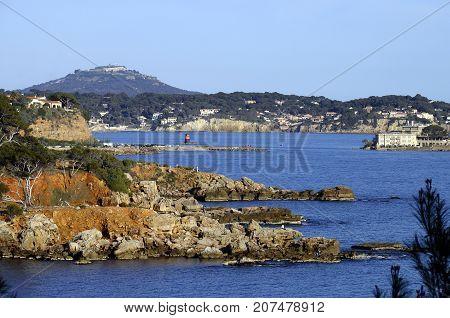 Bandol bay Faron mount Bendor island landscape on french riviera France