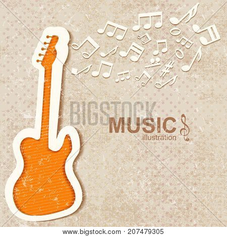 Colorful music textured background with notes and orange guitar flat vector illustration