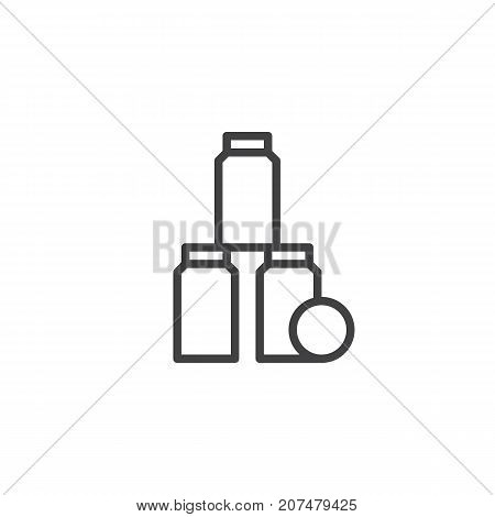 Tin can pyramid with tennis ball line icon, outline vector sign, linear style pictogram isolated on white. Symbol, logo illustration. Editable stroke