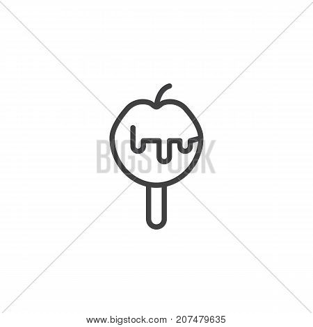 Caramelized apple line icon, outline vector sign, linear style pictogram isolated on white. Symbol, logo illustration. Editable stroke