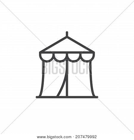 Circus tent line icon, outline vector sign, linear style pictogram isolated on white. Symbol, logo illustration. Editable stroke