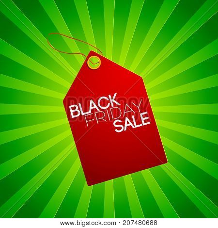Black friday sale tag in red color at the center with green striped background vector illustration