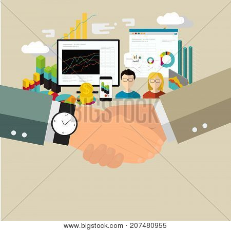 Two man shaking hands. Agreement, business deal vector concept. - stock vector