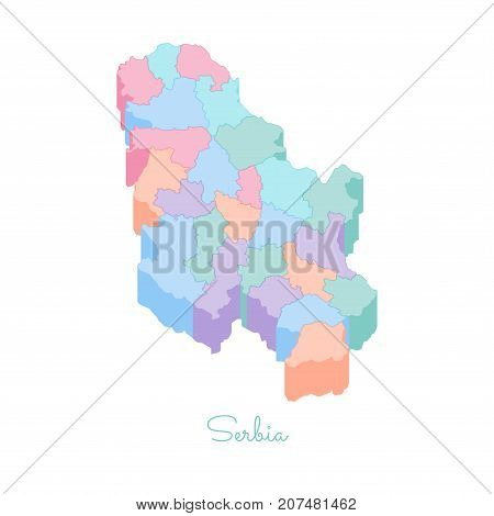 Serbia Region Map: Colorful Isometric Top View. Detailed Map Of Serbia Regions. Vector Illustration.