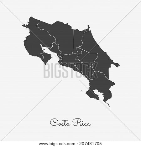 Costa Rica Region Map: Grey Outline On White Background. Detailed Map Of Costa Rica Regions. Vector