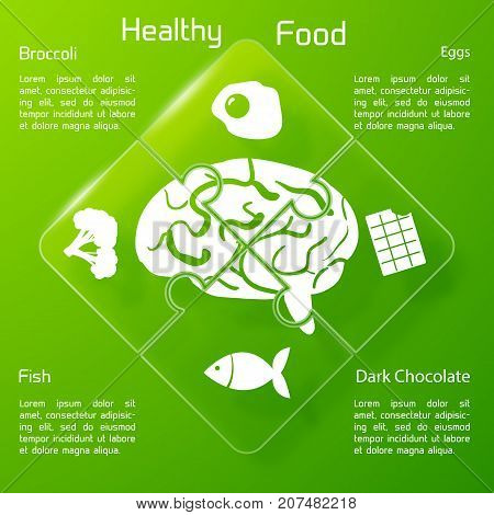 Healthy food concept with products icons useful for human brain on connected puzzle elements vector illustration