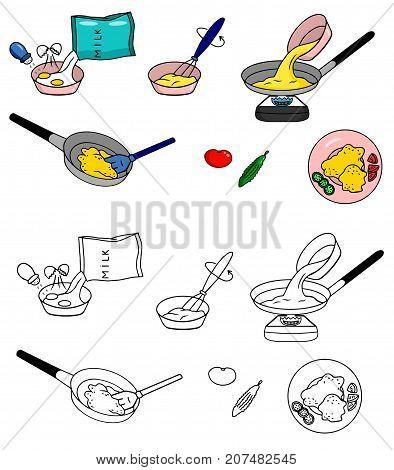 Recipe Omelet fried eggs vector diy instruction illustration sketch meal food