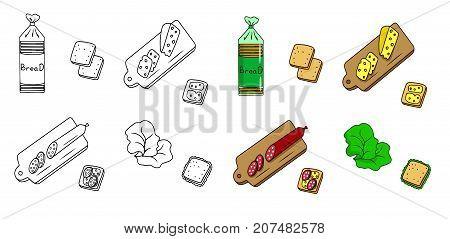 Recipe Sandwiches vector diy instruction manual illustration sketch meal food