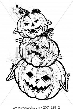 Three Wise Pumpkins.Vector Illustrations for kids. Happy Halloween.