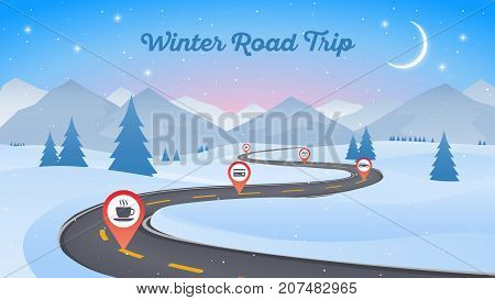 Winter snowy landscape with winding road pathway 16x9. New Year background. Vector illustration