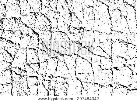 Vector texture with grained cracks. Cracked and weathered asphalt surface. Distressed black background.