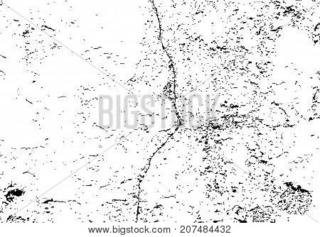 Texture of cracked wall with old plaster. Distressed vector background. Grunge overlay illustration for retro design.