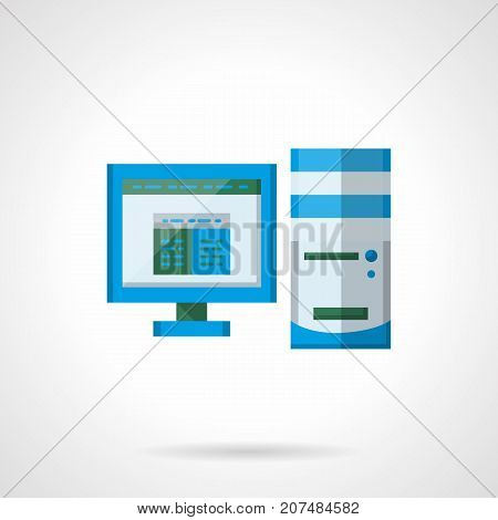Symbol of office desktop computer or pc. Equipment for work, management, business. Flat color style vector icon.