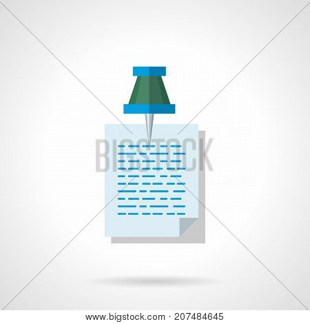 Symbol of writing note or memo with green pushpin. Office accessories, objects and workplace elements. Flat color style vector icon.