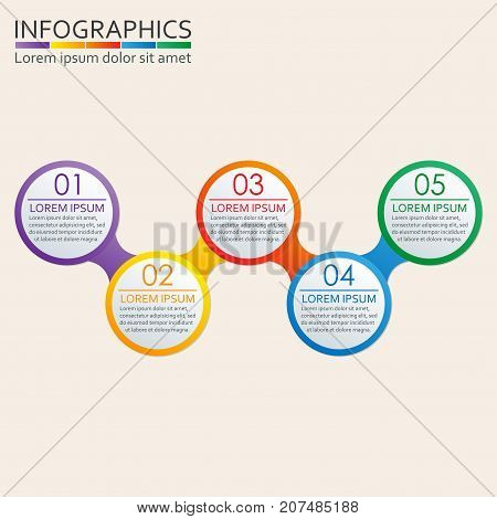 Step by step infographics template. 5 steps options or levels infographics concept. Strategy and workflow design elements. Vector illustration.